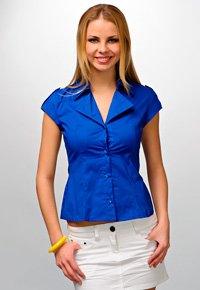 Выкройка блузки с короткими рукавами и открыто-отложным воротником