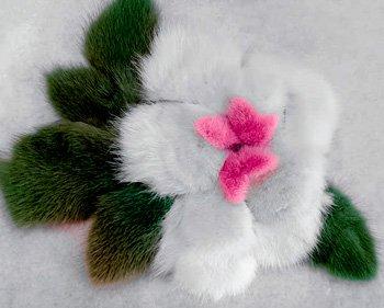 Цветок из меха норки