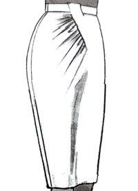 Юбка с асимметричным подрезом со сборками