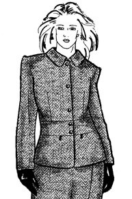 Выкройка пиджака с застежкой доверху и отложным воротником