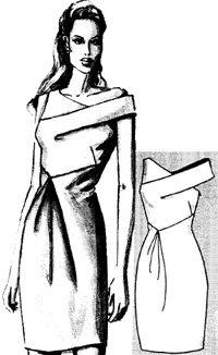 Платье с двойной встречной складкой