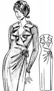 Выкройка вечернего длинного платья с воротником-каскадом
